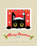 Christmas Vector Card With Cute Cat. Holiday Cartoon Greeting Card. Merry Christmas. Stock Photography