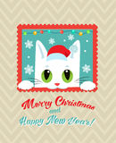 Christmas Vector Card With Cute Cat. Holiday Cartoon Greeting Card. Stock Images