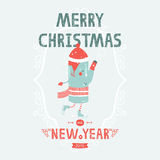 Christmas vector card with cute makers skating. New year illustration with decorative elements Stock Image