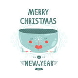 Christmas vector card with cute mug, magic wand. And skates. New year illustration with decorative elements Royalty Free Stock Image