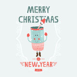 Christmas vector card with cute mug. And winter hat. New year illustration with decorative elements Royalty Free Stock Image