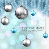 Christmas vector card design, shiny baubles and fir branches on bokeh background Stock Photo