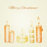 Christmas vector card with hand drawn ink style Stock Image