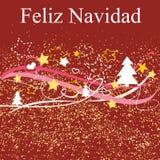 Christmas vector card or invitation with Merry Christmas wishes in espanol: Feliz Navidad Royalty Free Stock Photos