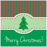Christmas vector card or invitation for party. Modern card or invitation for christmas party with green background, red vertical bars, tree and Merry Christmas Stock Images
