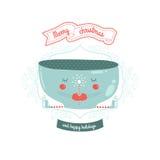 Christmas vector card with mug. Christmas vector card with cute mug, magic wand and skates isolated on white background Royalty Free Stock Photo