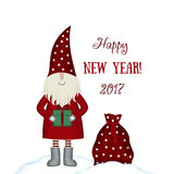 Christmas vector card Santa Claus isolated with gifts. Nisse Santa Claus scandinavian folk style, nordic Christmas motive in red coat with bag and gift, isolated Stock Photography