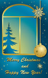 Christmas vector card with window and gold decor Royalty Free Stock Photo