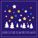Christmas vector card with wishes in espanol: Feliz Navidad Royalty Free Stock Image