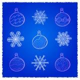 Christmas. Vector card wth Christmas fir tree decorations. Blue variant Royalty Free Illustration