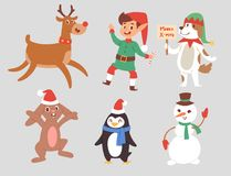 Christmas vector characters cute cartoon Reindeer, Xmas rabbit, Santa dog New Year symbol, elf child boy and penguin stock illustration