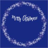 Christmas vector circular frame with snow flakes stock images