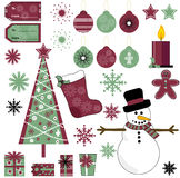 Christmas Vector Collection. Collection of Red and Green Christmas Vectors Isolated on White Background Stock Photo