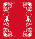 Christmas vector design - frame with deer silhouettes Royalty Free Stock Photos