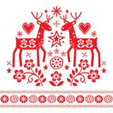 Christmas vector design with reindeer, flowers, Scandinavian folk art pattern in red on white background - Merry Christmas decorat royalty free illustration