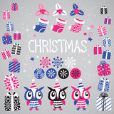 Christmas vector elements set for festive design. Gift, Snowflake, Ostrolist, Christmas sock, Star, Cute Owl Royalty Free Stock Image
