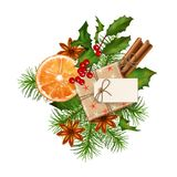 Christmas Festive Decoration. Christmas vector festive decoration with fir tree branch and gift box isolated on white. Top view on Xmas gift with blank label Stock Photos