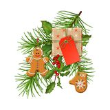 Christmas Festive Decoration. Christmas vector festive decoration. Fir tree branch, gingerbread and gift with blank label isolated on white Stock Image