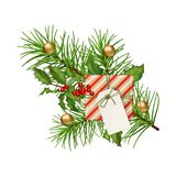 Christmas Festive Decoration. Christmas vector festive decoration. Fir tree branch, Holly and gift with blank label isolated on white Stock Photography