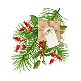 Christmas Festive Decoration. Christmas vector festive decoration. Fir tree branch, Holly and gift with blank label isolated on white Stock Images