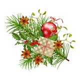 Christmas Festive Decoration. Christmas vector festive decoration. Fir tree branch, Holly, Xmas ornament and gift isolated on white Royalty Free Stock Photos