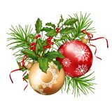 Christmas Festive Decoration. Christmas vector festive decoration. Fir tree branch, Holly and Xmas ornament isolated on white Royalty Free Stock Photo