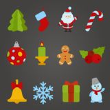 Christmas vector flat design icon set. Happy new y. Ear theme collection. Christmas tree, Santa Claus, Candle, Cookie, Bell, Snowflake, Gift, Snowman royalty free illustration