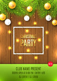 Christmas vector flyer with Christmas lights Royalty Free Stock Photos