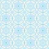Christmas vector folk art pattern - blue snowflakes seamless design, Scandinavian style Xmas wallpaper, wrapping paper or textile Royalty Free Stock Image