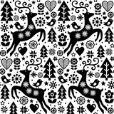 Christmas vector folk style seamless pattern, Scandinavian design in black and white, reindeer, birds and flowers decoration, wall Royalty Free Stock Photos