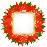 Christmas vector frame 12. Christmas vector frame with red flower, holly and golden ribbon isolated on white background Royalty Free Stock Images