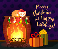 Christmas vector greeting card - cat sleeping on a fireplace with couple of gifts. Christmas vector illustration - cat sleeping on a fireplace. Boxes with Royalty Free Stock Photo