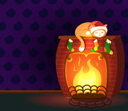 Christmas vector greeting card - cat sleeping on a fireplace in empty room. Christmas vector illustration - cat sleeping on a fireplace. Empty room with dark Royalty Free Stock Images