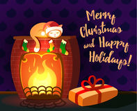 Christmas vector greeting card - cat sleeping on a fireplace with gift. Christmas vector illustration - cat sleeping on a fireplace. Dark violet wallpapers on Stock Photos