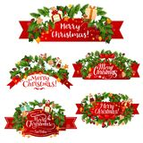 Christmas vector greeting ribbon decoration icons Royalty Free Stock Images