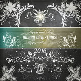 Christmas vector grunge greeting card on a wooden shabby back Royalty Free Stock Photography