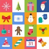 Christmas vector icons set. Christmas tree, Christmas ball, Christmas letter, Christmas Santa, Christmas cake. Christmas Gift, socks, ball, snowflake Stock Photo