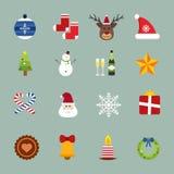 Christmas vector icons set. Christmas tree, Christmas ball, Christmas letter, Christmas Santa, Christmas cake. Christmas Gift, socks, ball, snowflake Stock Photography