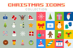 Christmas vector icons set. Christmas tree, Christmas ball, Christmas letter, Christmas Santa, Christmas cake. Christmas Gift, socks, ball, snowflake Stock Images