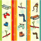 Christmas vector illustration. Greeting card with winter holiday stuffs royalty free illustration