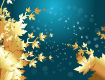 Christmas Vector Illustration Background. Creative Abstract Conceptual Decorative Design Art of Golden Fall Leaves Vector Background Royalty Free Stock Images