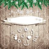 Christmas vector illustration. Banner, fir tree branches and hanging toys on the wooden board background. Christmas vector illustration Royalty Free Stock Photos