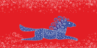 Christmas vector illustration.Beautiful blue Horse Stock Photography
