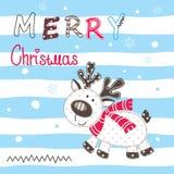 Christmas vector illustration with cartoon reindeer Stock Photos