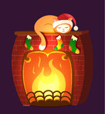Christmas vector illustration - cat sleeping on a fireplace. Isolated on dark violet background. Holiday time. Fire burning Royalty Free Stock Image
