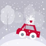 Christmas vector illustration with cute red car and gift box on vector illustration