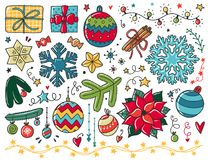 Christmas vector illustration. Doodles Christmas elements. Color vector items. Illustration with new year decor. Design for prints and cards Stock Photography
