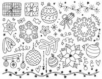 Christmas vector illustration. Doodles Christmas elements. Monochrome vector items. Illustration with new year decor. Design for prints and cards Stock Photo