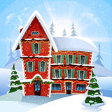 Christmas Vector Illustration. With fabulous snowy red cottage at winter landscape and firs flat vector illustration Royalty Free Stock Photos