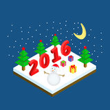 Christmas vector illustration isometric style. Snowmen, new year trees, gifts. 2016 royalty free illustration